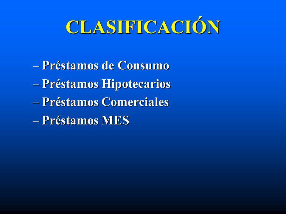 CLASIFICACIÓN –Préstamos de Consumo –Préstamos Hipotecarios –Préstamos Comerciales –Préstamos MES