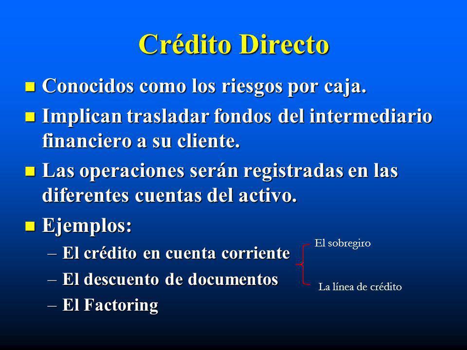 Crédito Directo Conocidos como los riesgos por caja. Conocidos como los riesgos por caja. Implican trasladar fondos del intermediario financiero a su