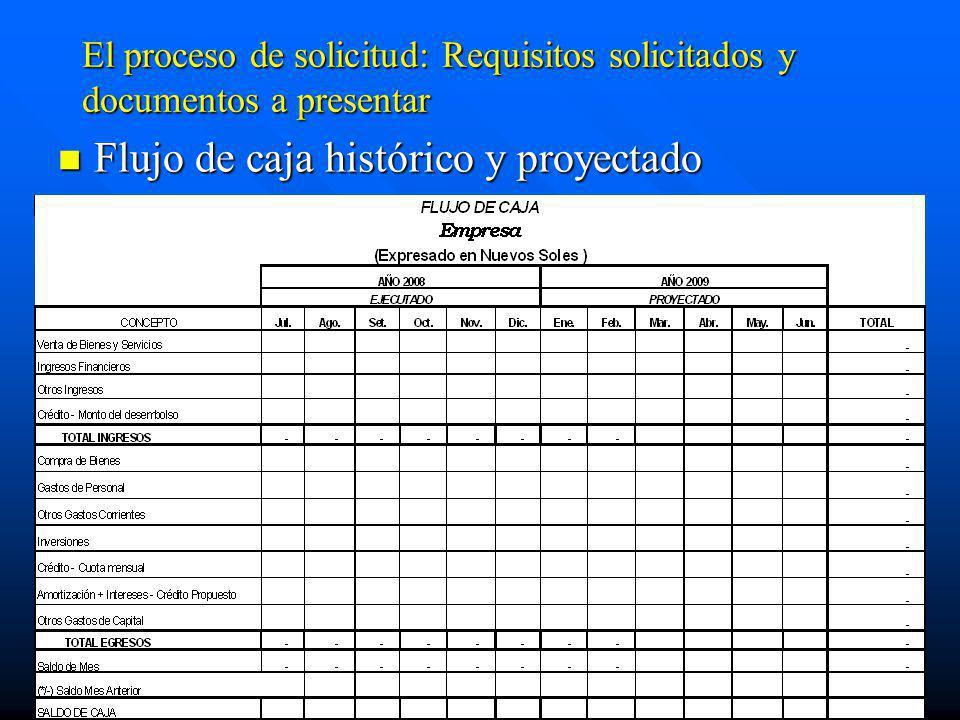 El proceso de solicitud: Requisitos solicitados y documentos a presentar Flujo de caja histórico y proyectado Flujo de caja histórico y proyectado