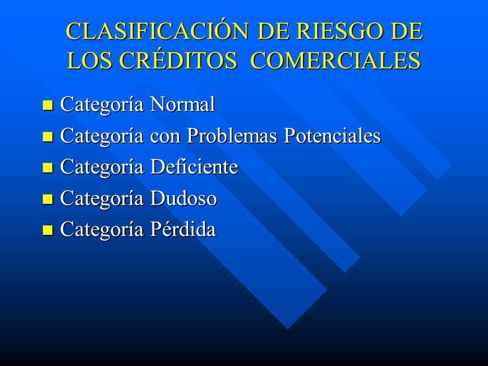 CLASIFICACIÓN DE RIESGO DE LOS CRÉDITOS COMERCIALES Categoría Normal Categoría Normal Categoría con Problemas Potenciales Categoría con Problemas Pote
