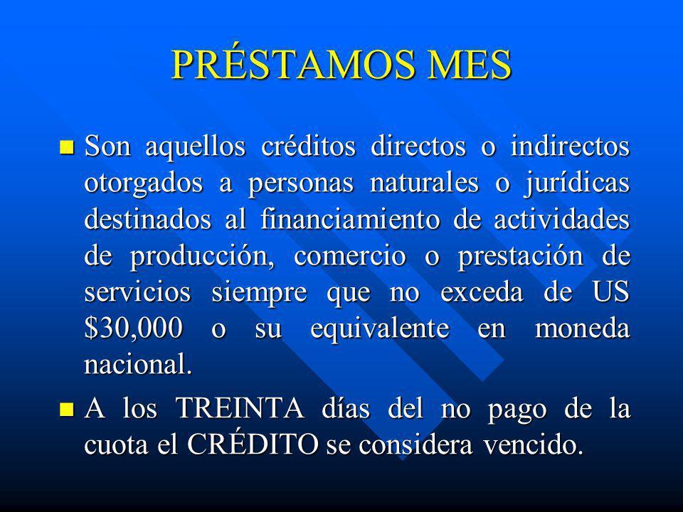 PRÉSTAMOS MES Son aquellos créditos directos o indirectos otorgados a personas naturales o jurídicas destinados al financiamiento de actividades de pr