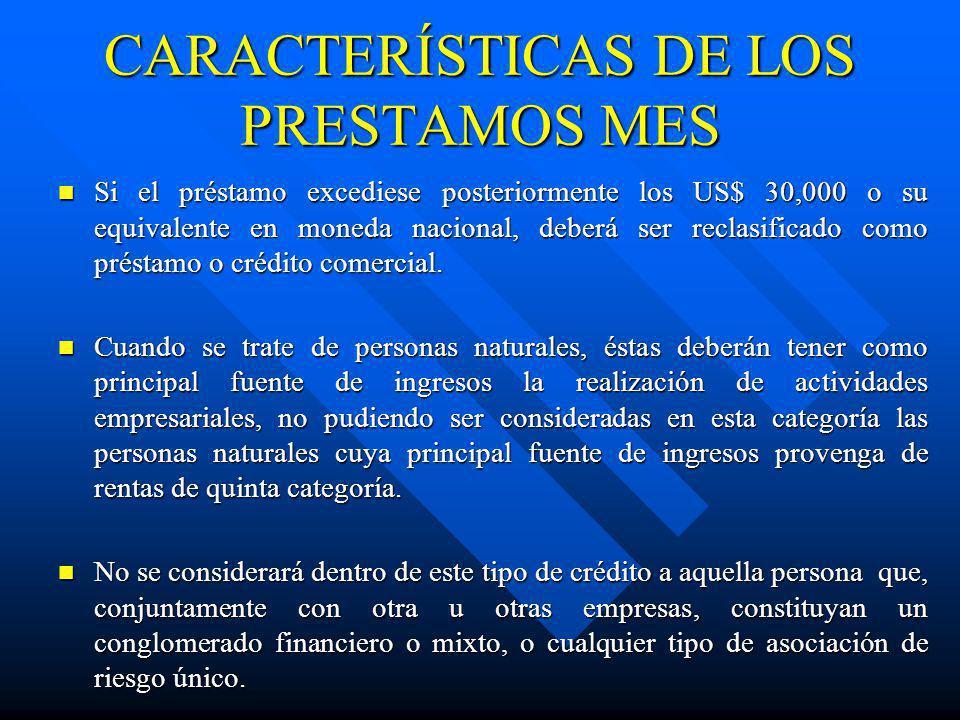 CARACTERÍSTICAS DE LOS PRESTAMOS MES Si el préstamo excediese posteriormente los US$ 30,000 o su equivalente en moneda nacional, deberá ser reclasific