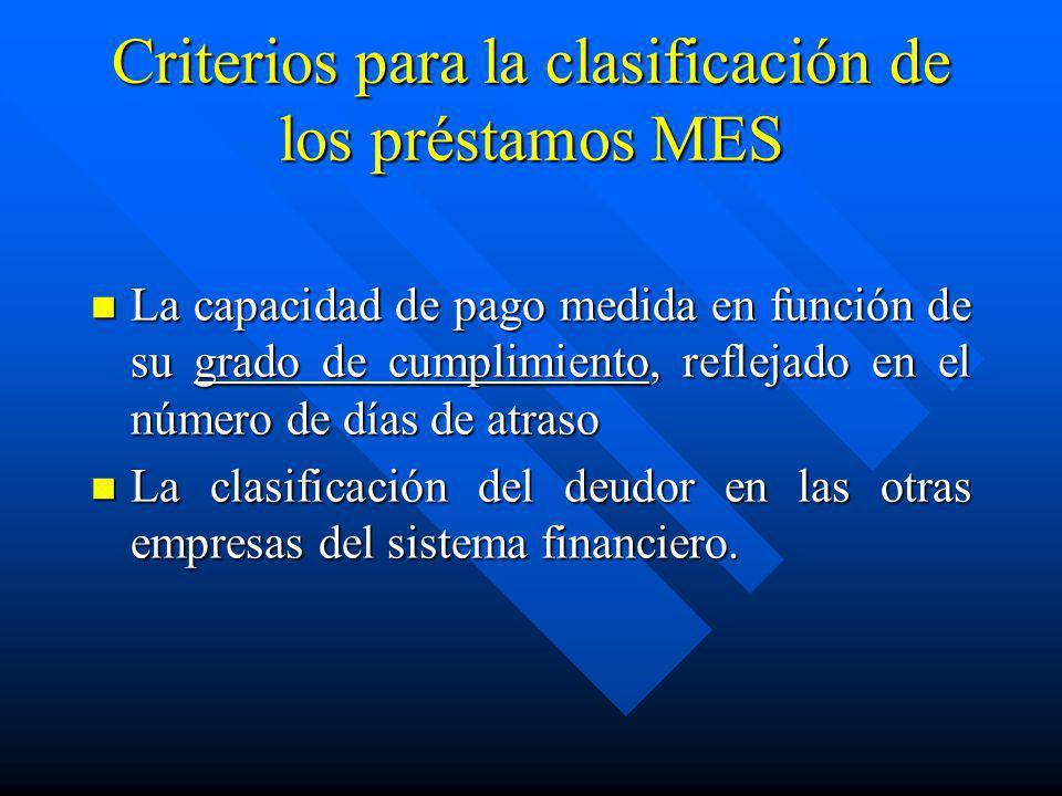 Criterios para la clasificación de los préstamos MES La capacidad de pago medida en función de su grado de cumplimiento, reflejado en el número de día