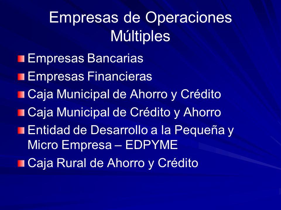 Empresas Especializadas Empresas de Capitalización Inmobiliaria Empresas de Arrendamiento Financiero Empresas de Factoring Empresas Afianzadora y de Garantía Empresas de Servicios Fiduciarios Empresas Administradoras Hipotecarias