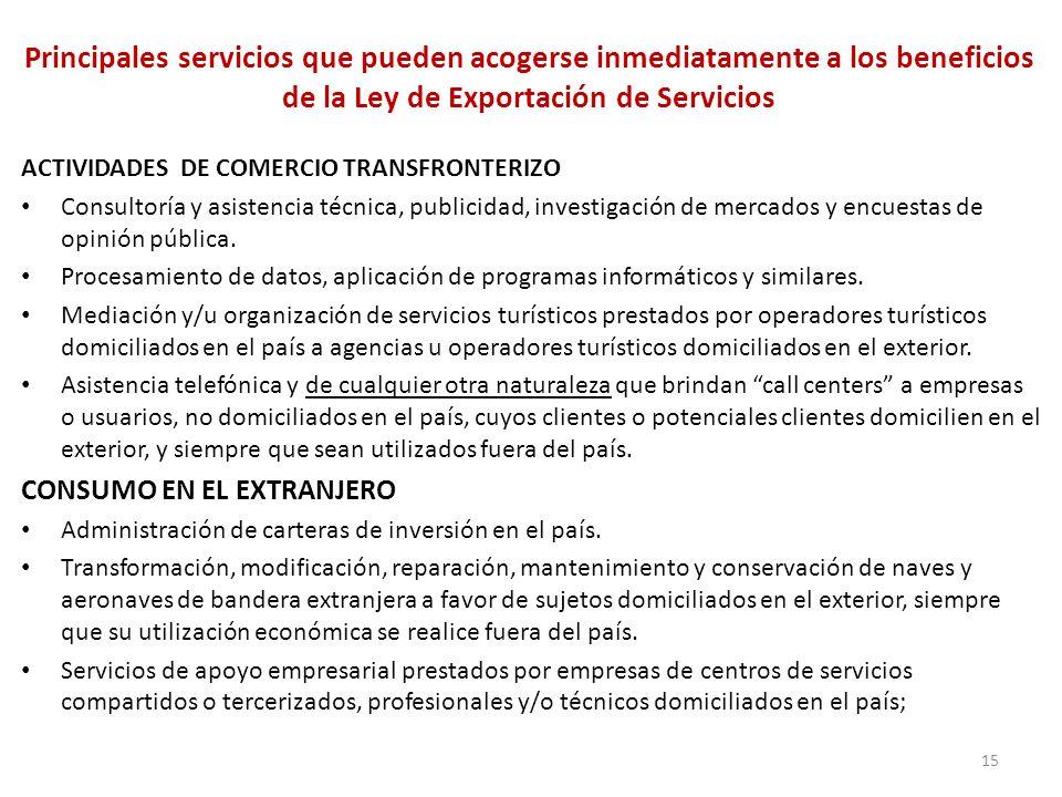 15 Principales servicios que pueden acogerse inmediatamente a los beneficios de la Ley de Exportación de Servicios ACTIVIDADES DE COMERCIO TRANSFRONTE