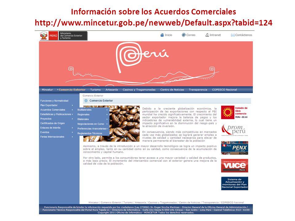 Información sobre los Acuerdos Comerciales http://www.mincetur.gob.pe/newweb/Default.aspx?tabid=124