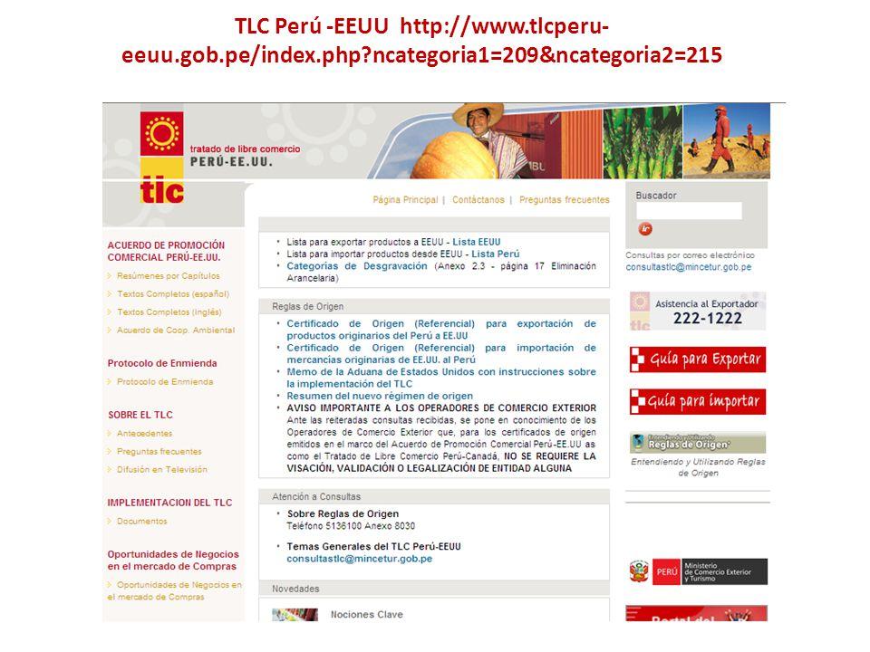 TLC Perú -EEUU http://www.tlcperu- eeuu.gob.pe/index.php?ncategoria1=209&ncategoria2=215