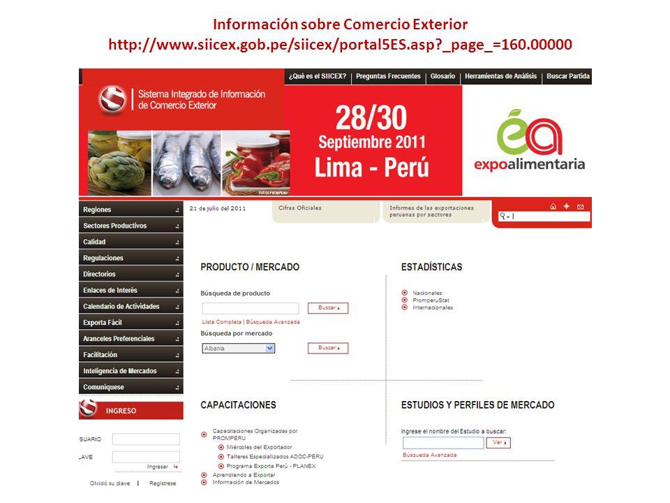 Información sobre Comercio Exterior http://www.siicex.gob.pe/siicex/portal5ES.asp?_page_=160.00000
