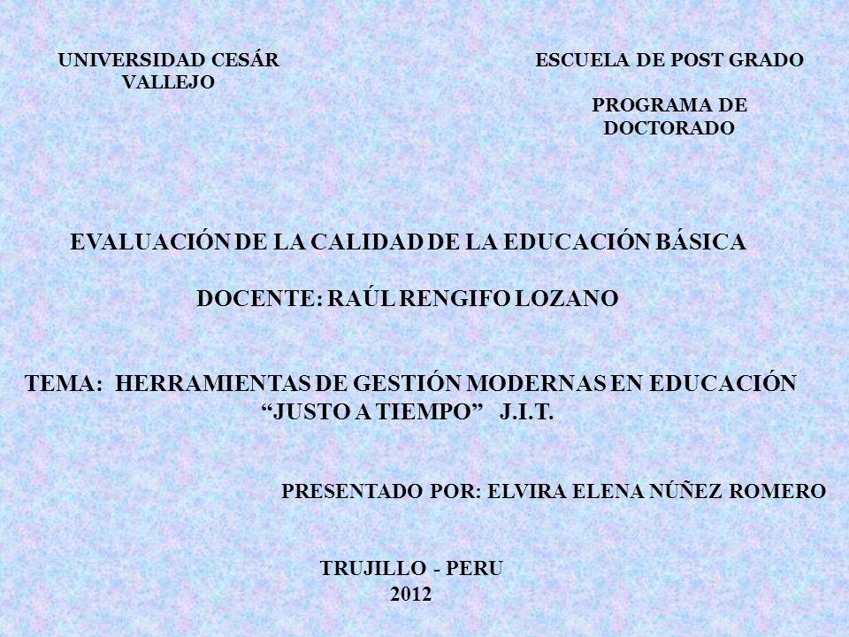 EVALUACIÓN DE LA CALIDAD DE LA EDUCACIÓN BÁSICA DOCENTE: RAÚL RENGIFO LOZANO TEMA: HERRAMIENTAS DE GESTIÓN MODERNAS EN EDUCACIÓN JUSTO A TIEMPO J.I.T.