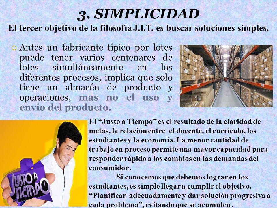3. SIMPLICIDAD Antes un fabricante típico por lotes puede tener varios centenares de lotes simultáneamente en los diferentes procesos, implica que sol