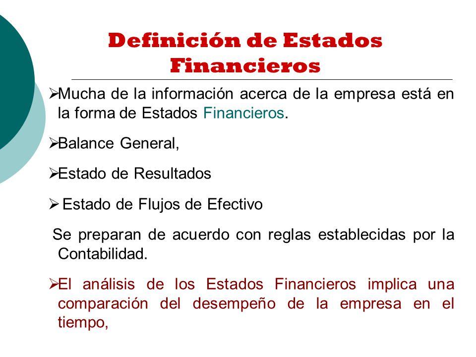 Definición de Estados Financieros Mucha de la información acerca de la empresa está en la forma de Estados Financieros.