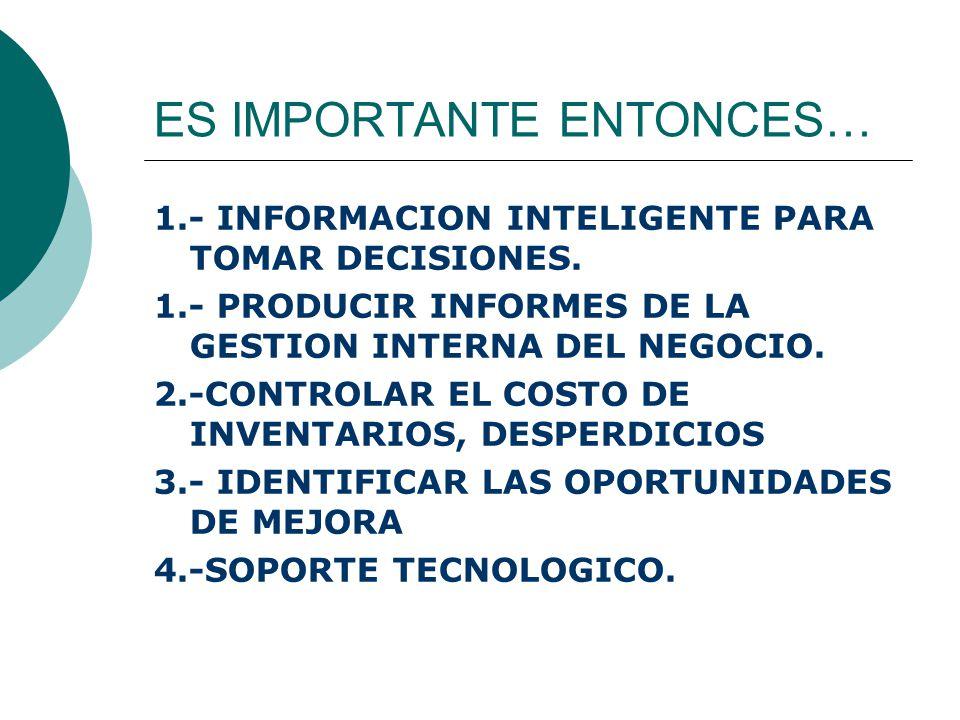 ES IMPORTANTE ENTONCES… 1.- INFORMACION INTELIGENTE PARA TOMAR DECISIONES.