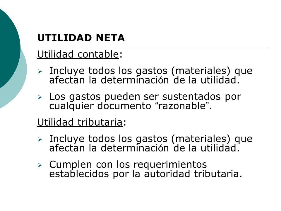 UTILIDAD NETA Utilidad contable: Incluye todos los gastos (materiales) que afectan la determinaci ó n de la utilidad.