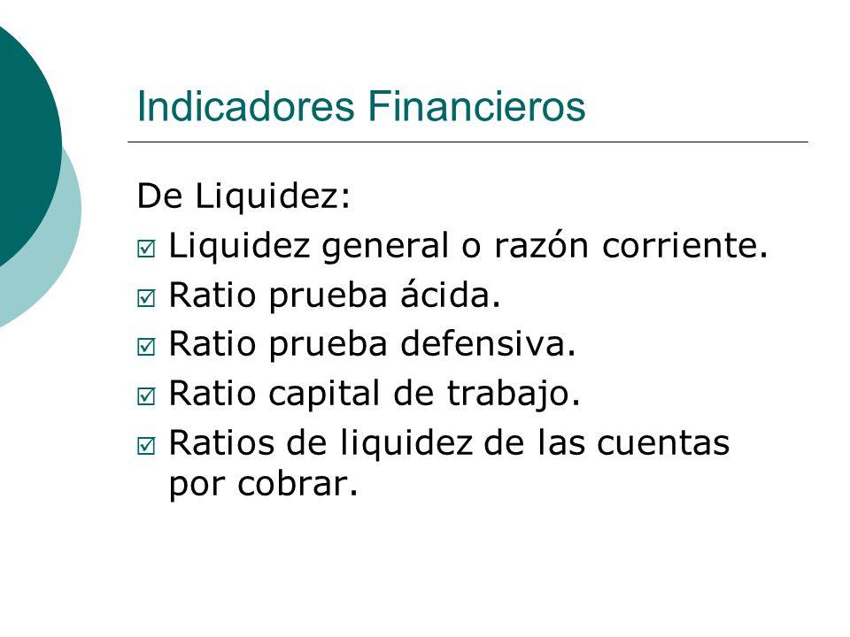 Indicadores Financieros De Liquidez: Liquidez general o razón corriente.