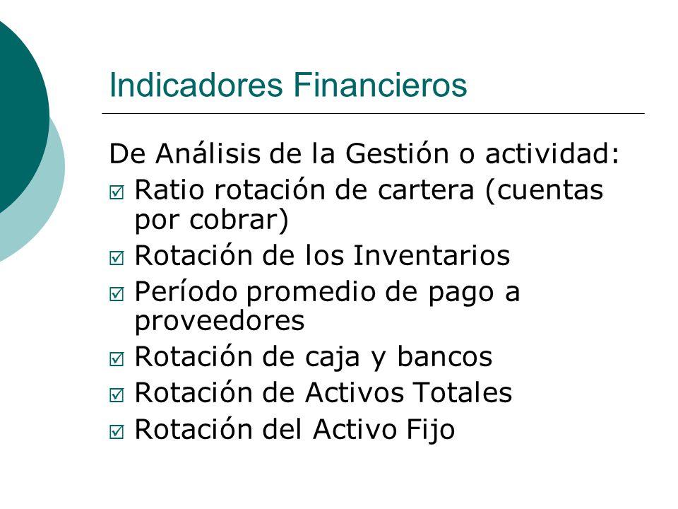 Indicadores Financieros De Análisis de la Gestión o actividad: Ratio rotación de cartera (cuentas por cobrar) Rotación de los Inventarios Período promedio de pago a proveedores Rotación de caja y bancos Rotación de Activos Totales Rotación del Activo Fijo