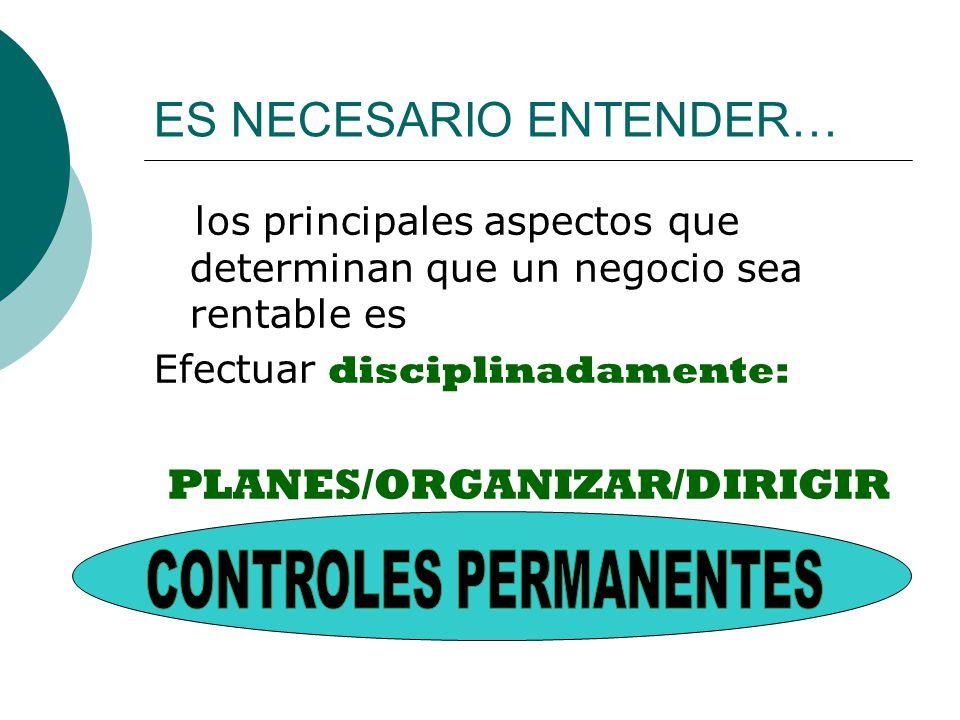 ES NECESARIO ENTENDER… los principales aspectos que determinan que un negocio sea rentable es Efectuar disciplinadamente: PLANES/ORGANIZAR/DIRIGIR Control financiero.