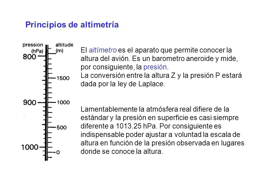 Principios de altimetría El altímetro es el aparato que permite conocer la altura del avión. Es un barometro aneroide y mide, por consiguiente, la pre