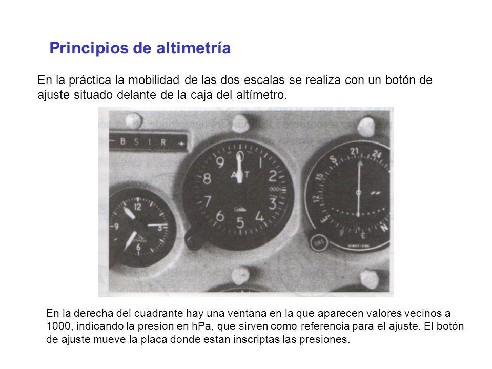 Principios de altimetría En la práctica la mobilidad de las dos escalas se realiza con un botón de ajuste situado delante de la caja del altímetro. En