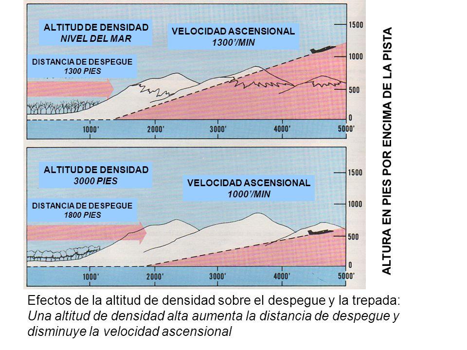 Efectos de la altitud de densidad sobre el despegue y la trepada: Una altitud de densidad alta aumenta la distancia de despegue y disminuye la velocid