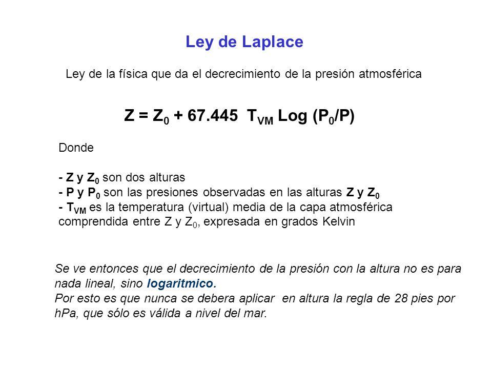 Ley de Laplace Ley de la física que da el decrecimiento de la presión atmosférica Z = Z 0 + 67.445 T VM Log (P 0 /P) Donde - Z y Z 0 son dos alturas -