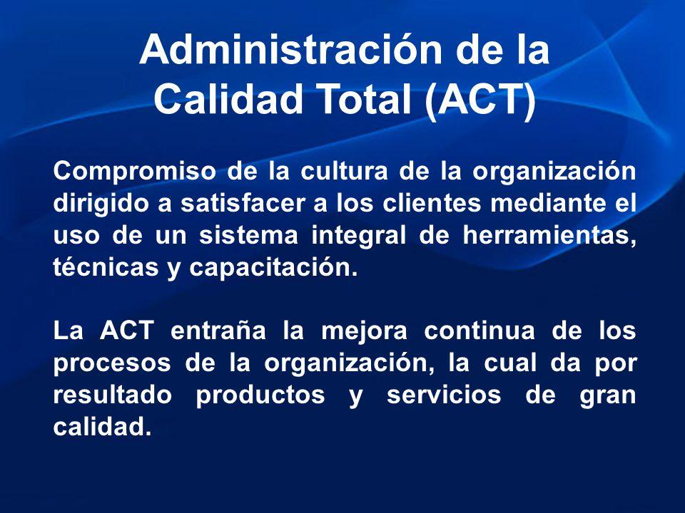 Administración de la Calidad Total (ACT) Compromiso de la cultura de la organización dirigido a satisfacer a los clientes mediante el uso de un sistem