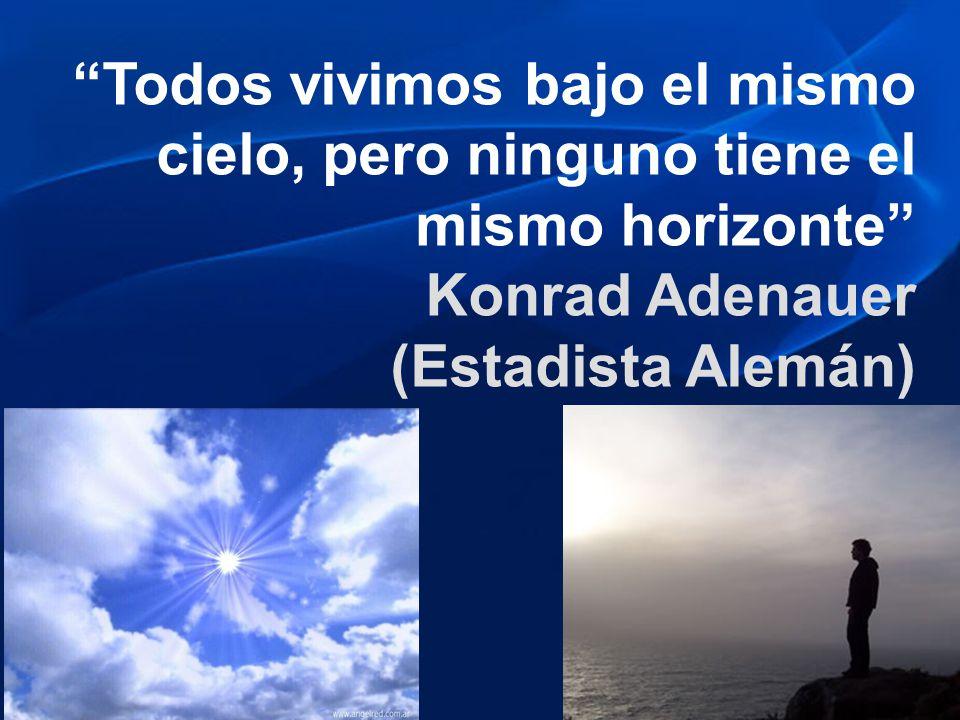 Todos vivimos bajo el mismo cielo, pero ninguno tiene el mismo horizonte Konrad Adenauer (Estadista Alemán)
