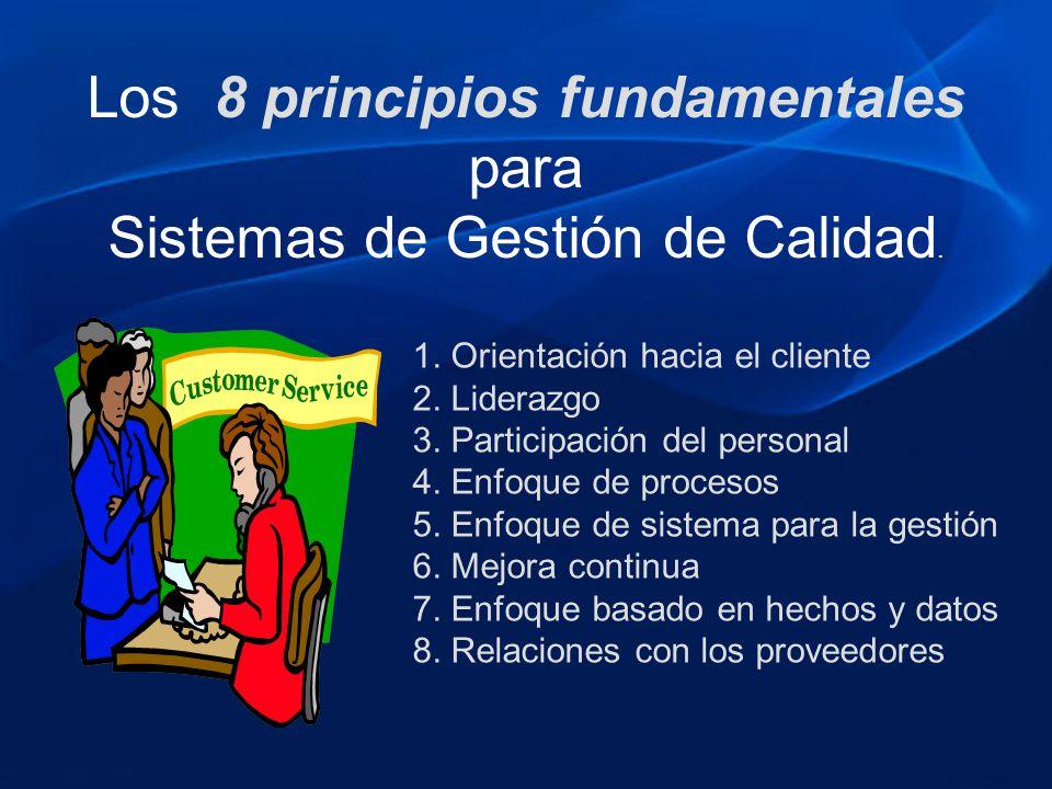1. Orientación hacia el cliente 2. Liderazgo 3. Participación del personal 4. Enfoque de procesos 5. Enfoque de sistema para la gestión 6. Mejora cont