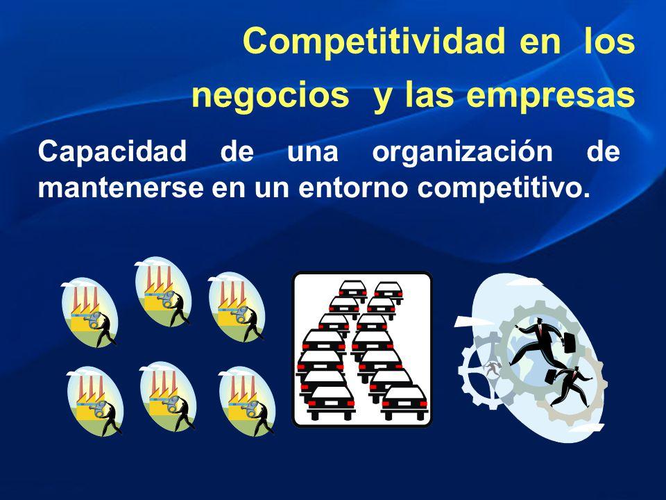 Capacidad de una organización de mantenerse en un entorno competitivo. Competitividad en los negocios y las empresas