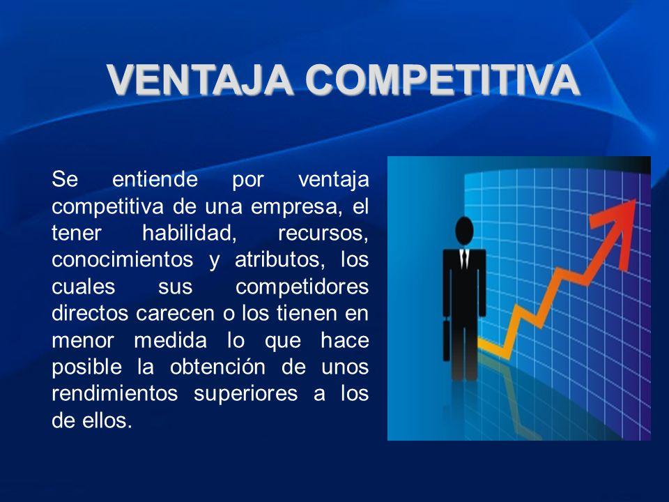 VENTAJA COMPETITIVA Se entiende por ventaja competitiva de una empresa, el tener habilidad, recursos, conocimientos y atributos, los cuales sus compet