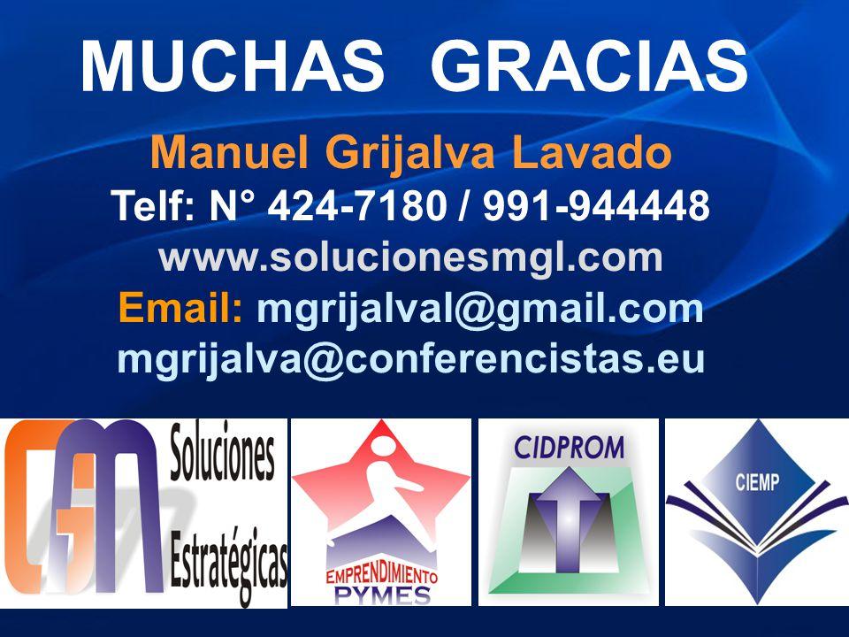 MUCHAS GRACIAS Manuel Grijalva Lavado Telf: N° 424-7180 / 991-944448 www.solucionesmgl.com Email: mgrijalval@gmail.com mgrijalva@conferencistas.eu