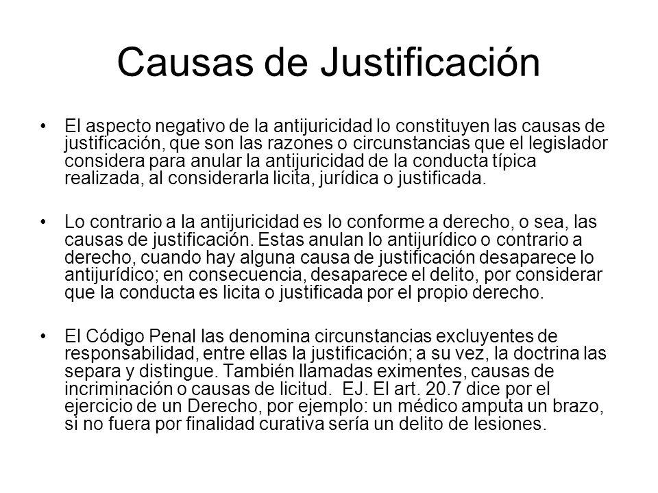 Causas de Justificación El aspecto negativo de la antijuricidad lo constituyen las causas de justificación, que son las razones o circunstancias que e