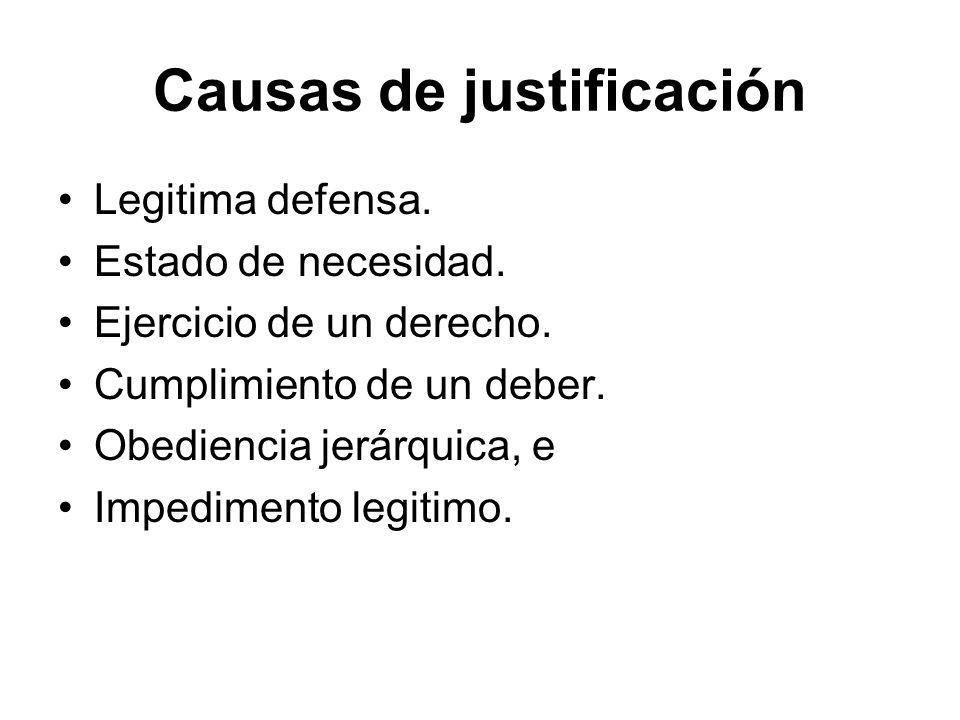 Causas de justificación Legitima defensa. Estado de necesidad. Ejercicio de un derecho. Cumplimiento de un deber. Obediencia jerárquica, e Impedimento