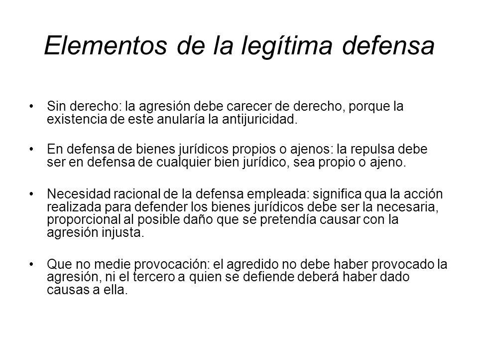 Elementos de la legítima defensa Sin derecho: la agresión debe carecer de derecho, porque la existencia de este anularía la antijuricidad. En defensa