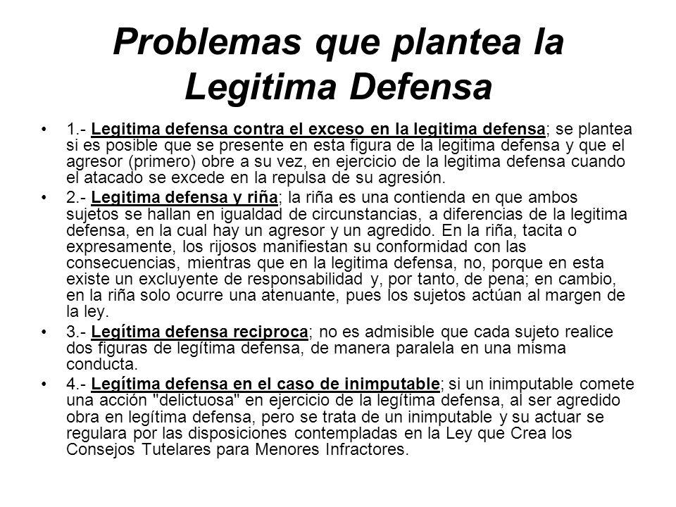 Problemas que plantea la Legitima Defensa 1.- Legitima defensa contra el exceso en la legitima defensa; se plantea si es posible que se presente en es