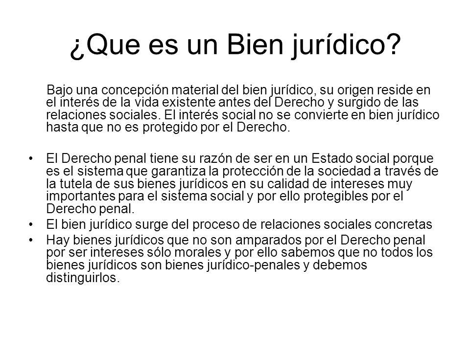 ¿Que es un Bien jurídico? Bajo una concepción material del bien jurídico, su origen reside en el interés de la vida existente antes del Derecho y surg