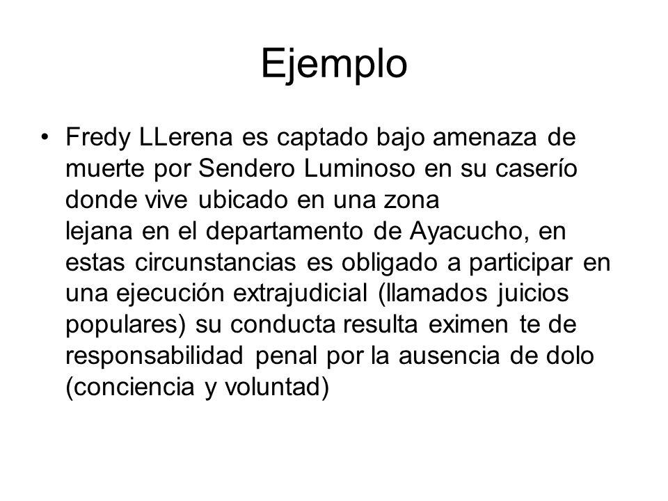 Ejemplo Fredy LLerena es captado bajo amenaza de muerte por Sendero Luminoso en su caserío donde vive ubicado en una zona lejana en el departamento de