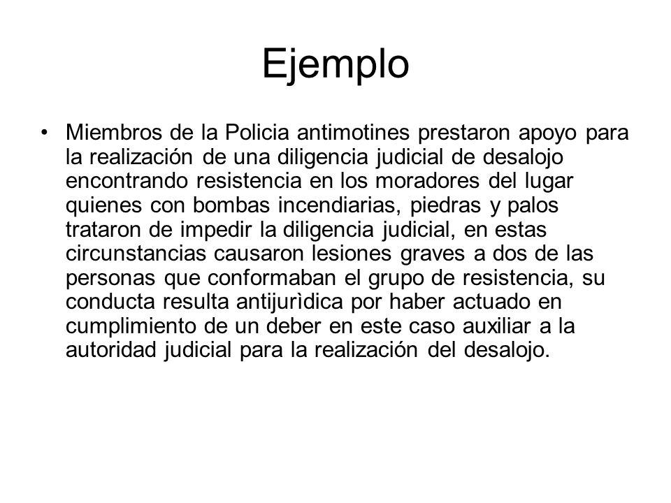 Ejemplo Miembros de la Policia antimotines prestaron apoyo para la realización de una diligencia judicial de desalojo encontrando resistencia en los m