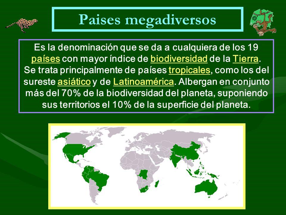 Paises megadiversos Es la denominación que se da a cualquiera de los 19 países con mayor índice de biodiversidad de la Tierra. paísesbiodiversidadTier