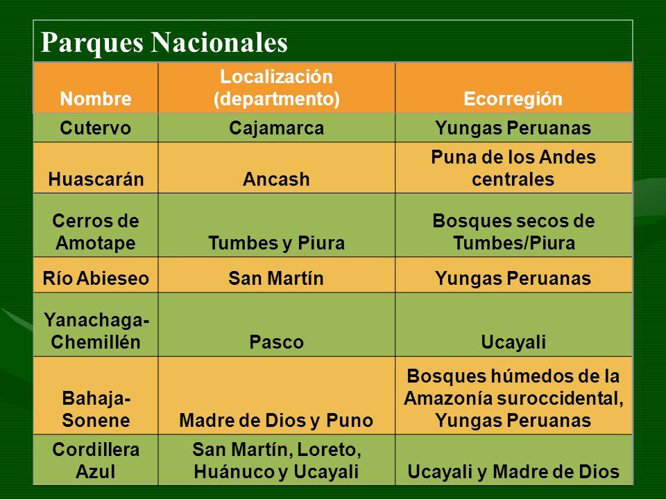 Parques Nacionales Nombre Localización (departmento)Ecorregión CutervoCajamarcaYungas Peruanas HuascaránAncash Puna de los Andes centrales Cerros de A