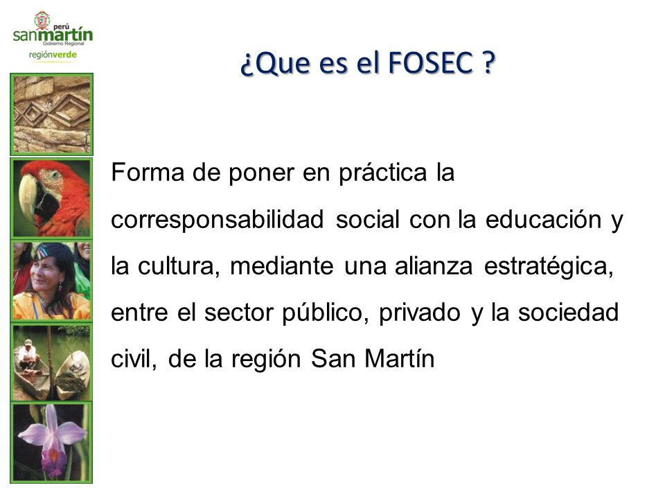 ¿Que es el FOSEC ? Forma de poner en práctica la corresponsabilidad social con la educación y la cultura, mediante una alianza estratégica, entre el s
