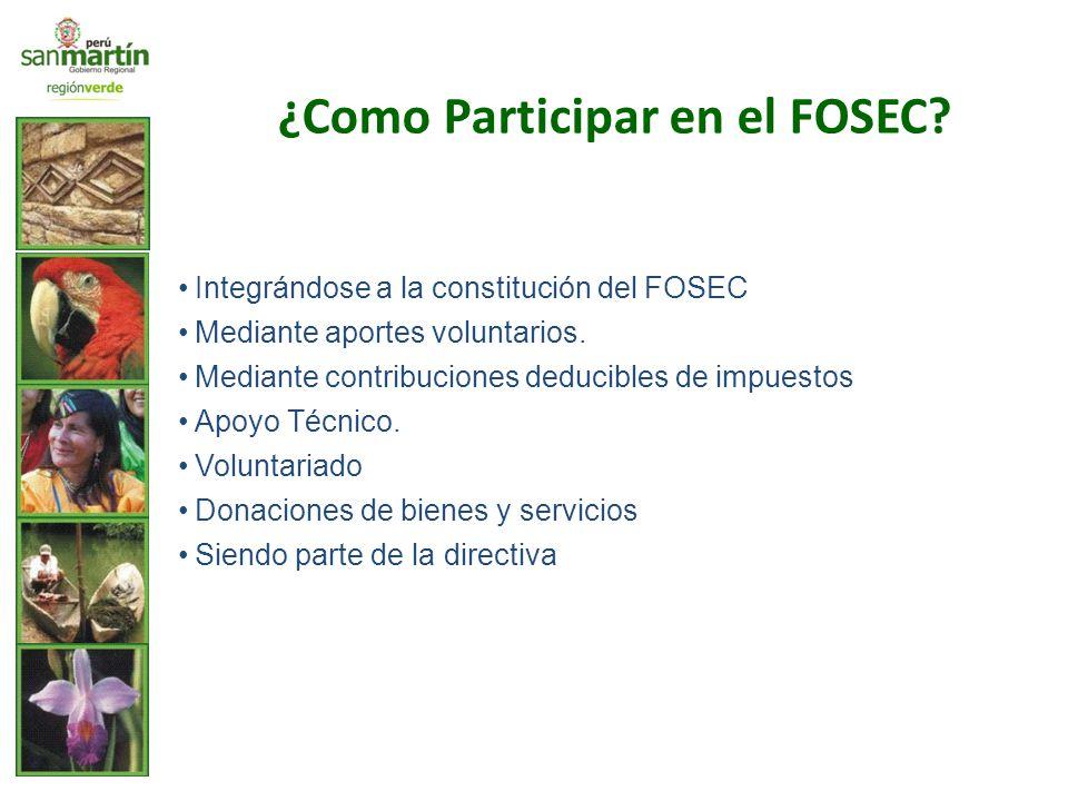 Integrándose a la constitución del FOSEC Mediante aportes voluntarios. Mediante contribuciones deducibles de impuestos Apoyo Técnico. Voluntariado Don