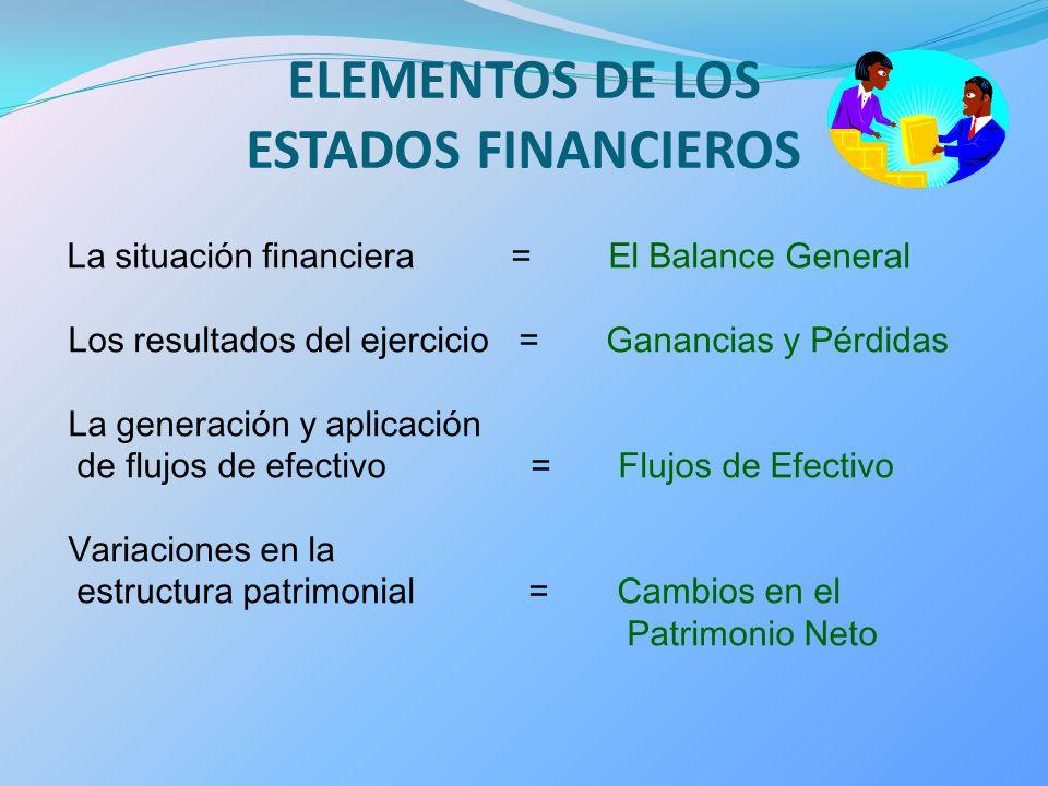 ELEMENTOS DE LOS ESTADOS FINANCIEROS La situación financiera = El Balance General Los resultados del ejercicio = Ganancias y Pérdidas La generación y