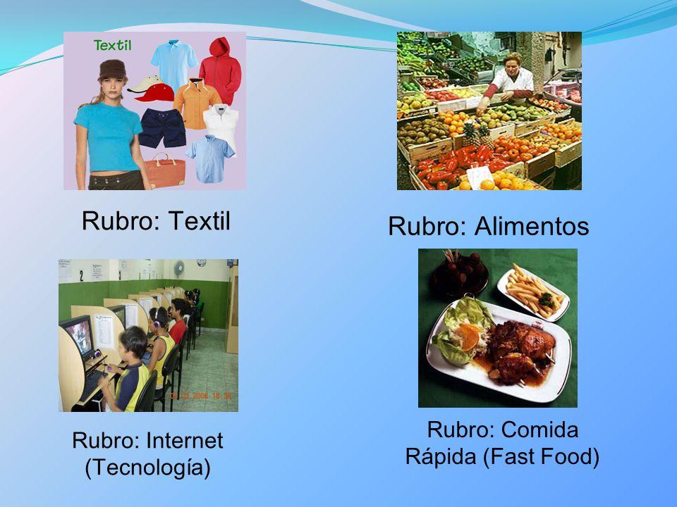 Rubro: Textil Rubro: Alimentos Rubro: Internet (Tecnología) Rubro: Comida Rápida (Fast Food)
