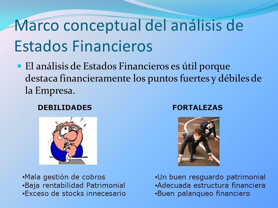 Marco conceptual del análisis de Estados Financieros El análisis de Estados Financieros es útil porque destaca financieramente los puntos fuertes y dé