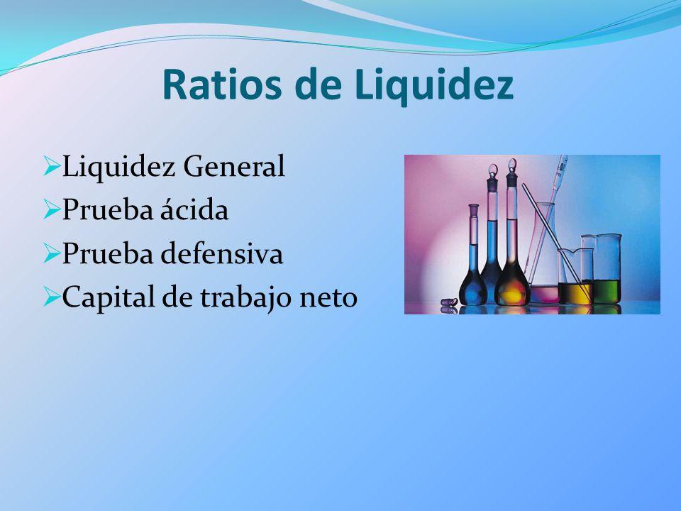 Ratios de Liquidez Liquidez General Prueba ácida Prueba defensiva Capital de trabajo neto