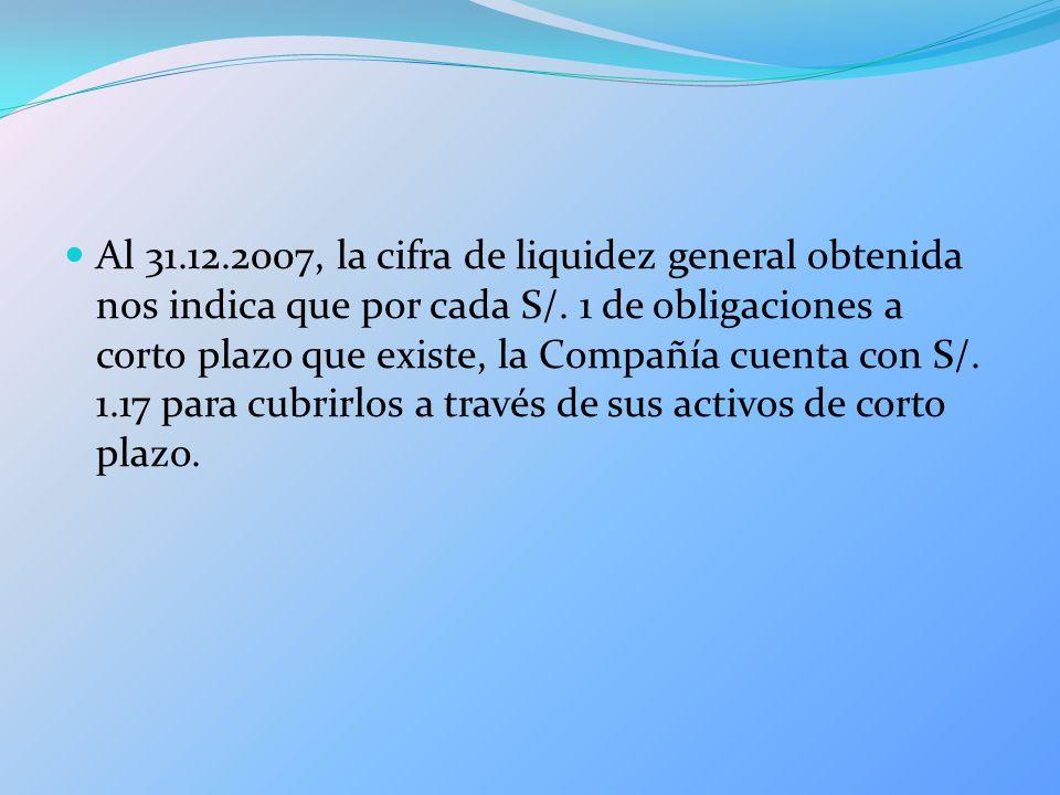 Al 31.12.2007, la cifra de liquidez general obtenida nos indica que por cada S/. 1 de obligaciones a corto plazo que existe, la Compañía cuenta con S/