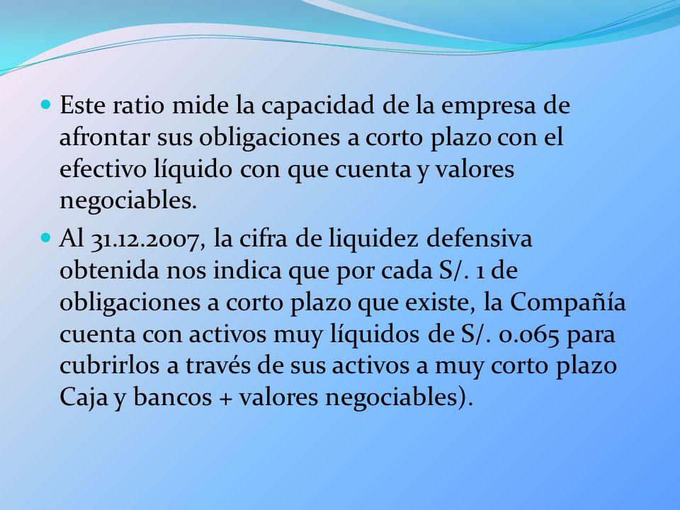 Este ratio mide la capacidad de la empresa de afrontar sus obligaciones a corto plazo con el efectivo líquido con que cuenta y valores negociables. Al