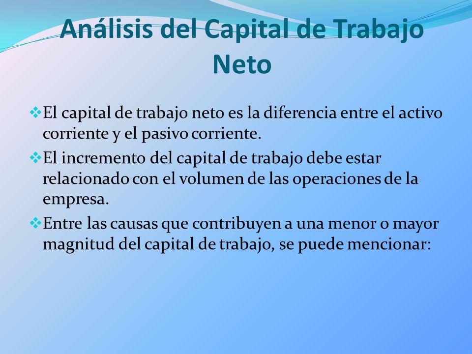 Análisis del Capital de Trabajo Neto El capital de trabajo neto es la diferencia entre el activo corriente y el pasivo corriente. El incremento del ca