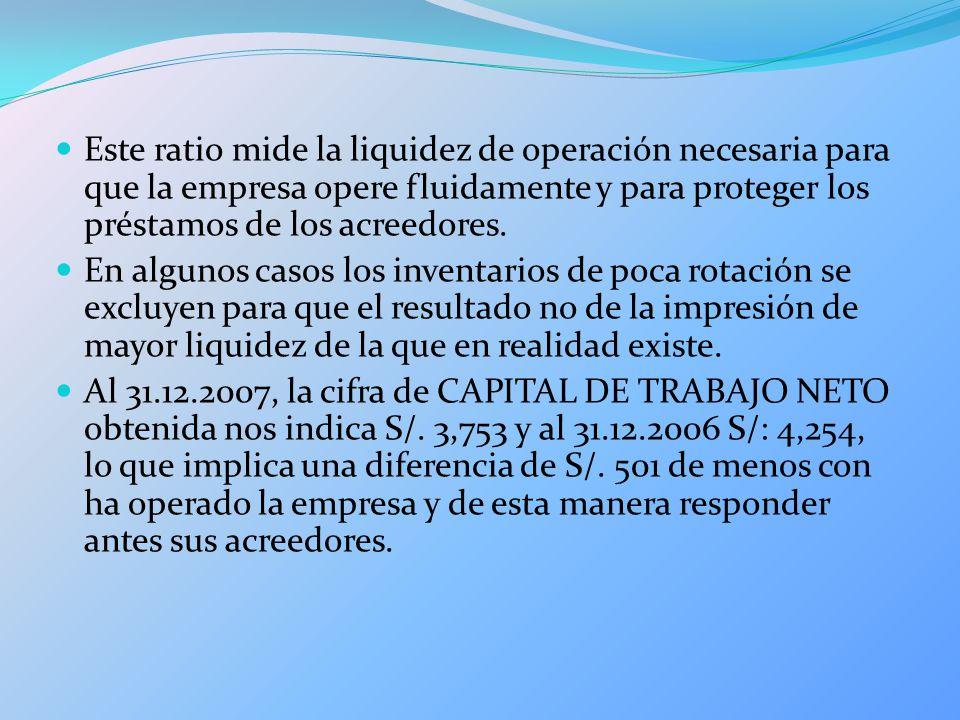 Este ratio mide la liquidez de operación necesaria para que la empresa opere fluidamente y para proteger los préstamos de los acreedores. En algunos c