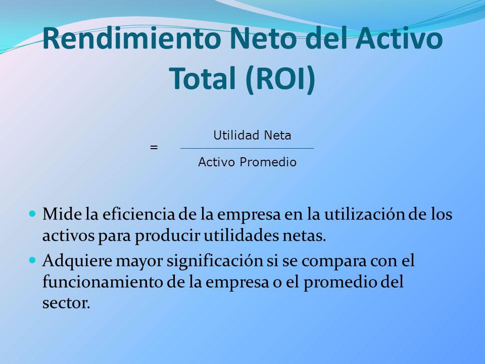 Rendimiento Neto del Activo Total (ROI) Mide la eficiencia de la empresa en la utilización de los activos para producir utilidades netas. Adquiere may